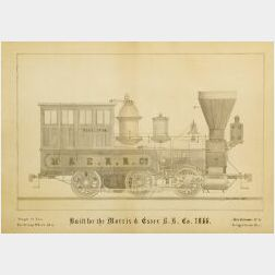 Engineer's Drawing of the Morris & Essex Railroad Locomotive Ella No. 44