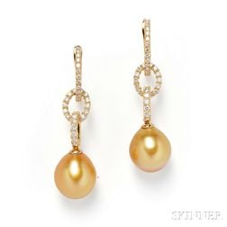 18kt Gold, Golden South Sea Pearl, and Diamond Earpendants