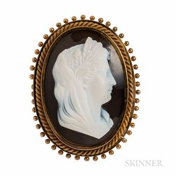 Antique Gold and Hardstone Cameo Pendant/Brooch