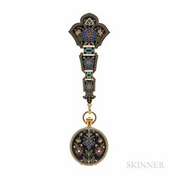 Rare Antique Tiffany & Co. Orientalist-style 18kt Gold and Enamel Chatelaine Watch