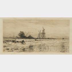 Robert Swain Gifford (ac. New York, Massachusetts, California, 1840-1905)      Seaside Landscape with Figure and Windmills.