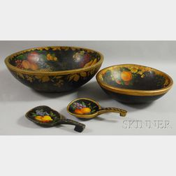 Two Paint-decorated Turned Wood Bowls and Two Paddles