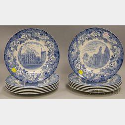 Set of Twelve Wedgwood Blue and White Transfer Harvard University Dinner Plates