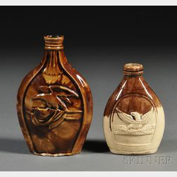 Two Rockingham-glazed Molded Pottery Eagle Flasks
