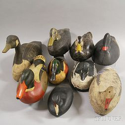Nine Carved and Painted Mostly Duck Decoys