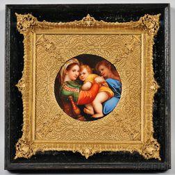 German Hand-painted Porcelain Plaque Depicting the Madonna della Seggiola