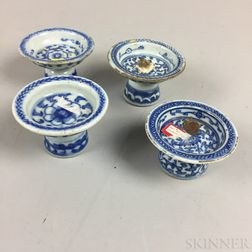 Four Small Blue and White Footed Dishes