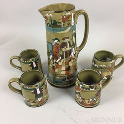 """Buffalo Pottery """"Ye Olden Days"""" Deldare Ware Pitcher and Four Mugs"""