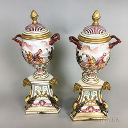 Pair of Capo di Monte Porcelain Covered Urns