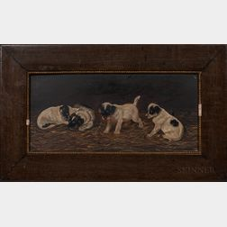 American School, Late 19th Century      Four Jack Russell Terrier Puppies