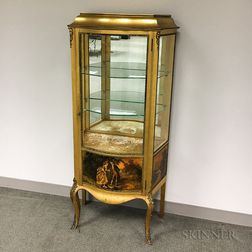 Louis XV-style Ormolu-mounted Gilt and Painted Vitrine