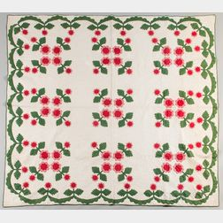 Hand-stitched Floral Applique Quilt