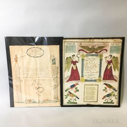 Two Hand-colored Fraktur Prints and a Dutch Document