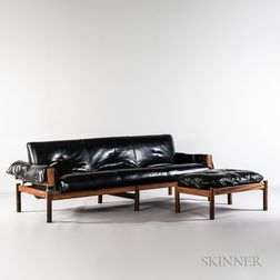 Percival Lafer Tufted Leather Sofa and Ottoman