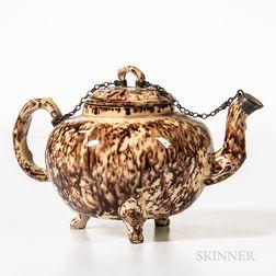 Staffordshire Brown Tortoiseshell-glazed Teapot