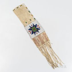 Plains Beaded and Quilled Hide Pipe Bag