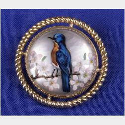 14kt Gold Reverse Painted Crystal Brooch