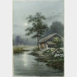 Keishu:  Cottage by a Moonlit Stream on a Summer Evening