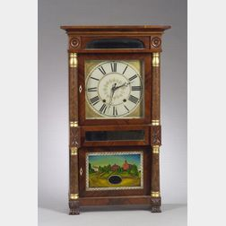 Jeromes & Darrow Mahogany and Mahogany Veneer Triple-deck Shelf Clock with   Reverse-Painted Jefferson College Glass Tablet