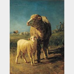 Constant Troyon (French, 1810-1865)      Brebis et son agneau