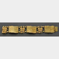 "14kt Gold ""Je t'aime"" Bracelet, Eric de Kolb"
