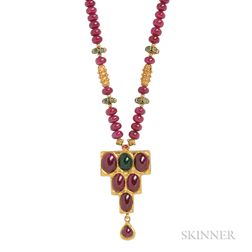 Gold, Ruby, and Emerald Pendant Necklace