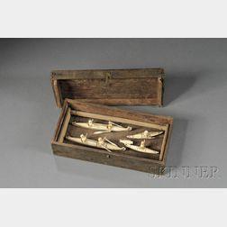 Eskimo Carved Wood and Ivory Hunting Diorama