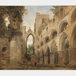 Attributed to David Roberts (Scottish, 1796-1864)      View of Dunkeld Cathedral, Highland Perthshire, Church of Scotland