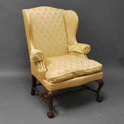 Chippendale-style Upholstered Carved Mahogany Easy Chair