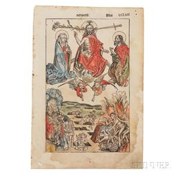 Nuremberg Chronicle, Liber Chronicarum   [German Edition], Leaf CCLXII,   Ultima Etas Mundi (The Last Judgment)  , Hand-colored.
