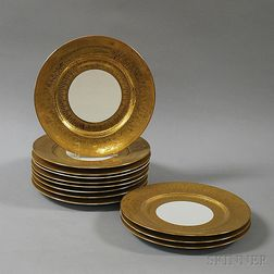 Set of Twelve Heinrich & Co. 22kt Gold-leaf Plates
