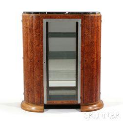Art Deco Burlwood Veneer and Metal Overlay Cabinet