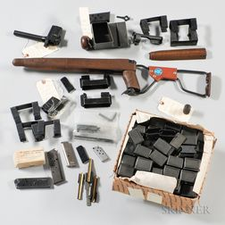 Boxes of Gun Parts, Magazines, and a Reproduction M1 Carbine Paratrooper Stock