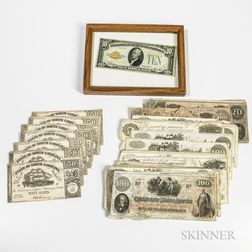 Group of Confederate and Southern States Currency and a Framed 1928 $10 Gold Certificate