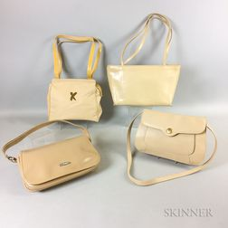 Four Beige Leather Handbags