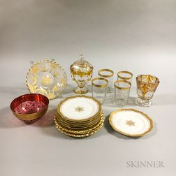 Nineteen Pieces of Glass and Porcelain Tableware