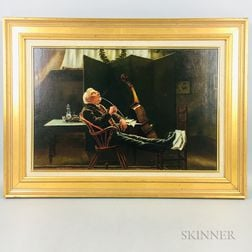 Oil on Canvas Painting of a Musician Smoking a Pipe