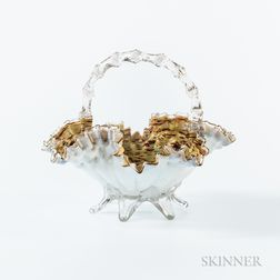Cased Glass Bride's Basket