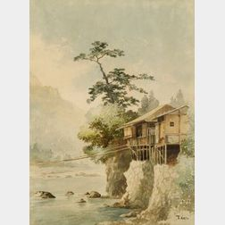 T. Kato:  A Cliff House on Pylons with a Portage Line Crossing a River