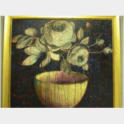 Large Framed Modern Oil Still Life with Roses.