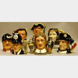 Seven Large Royal Doulton Character Jugs