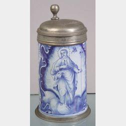 Nuremberg Blue and White Tin Glazed Earthenware Tankard