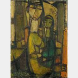 Samuel Marcus Adler (American, 1898-1979)      Lot of Two Figural Works: Portrait of Mother and Child and Portrait of a Man