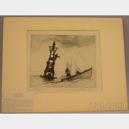 Unframed Etching on Paper of a Marine Scene, Channel Buoy