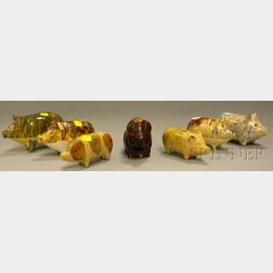 Seven Yellowware Pig-form Ceramic Banks