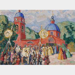 Nikolai Pavlovich Ul'yanov [Ulianov] (Russian, 1875-1949)      Religious Feast