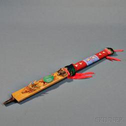 Lakota Carved Wood Effigy Pipe Stem