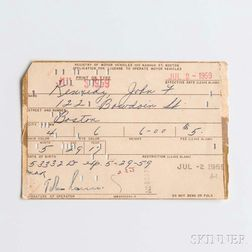 Kennedy, John F. (1917-1963) Application for Driver's License, Signed 2 July 1959.