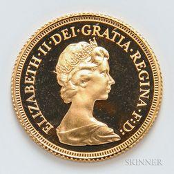1979 British Proof Gold Sovereign.     Estimate $300-500