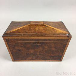 Georgian Inlaid Burl Veneer Casket-form Tea Caddy